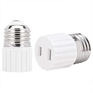 [2 Pack] E26 Light Socket to Outlet Adapter,Convert E26 Light Socket to Polarized 2 Prong Outlet, Polarized Handy Plug, Easy-to-Install,White