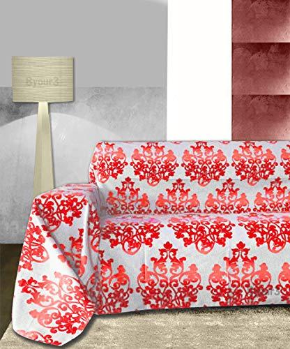 Byour3 Funda para sofá de 3 plazas – Tela granfoulard de algodón no necesita planchado, para cubrir sofás o esquinas, con chaise longue (damasco rojo rubí, 2 plazas)