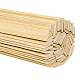 DYWISHKEY Natural Bamboo Sticks, Wooden Craft Sticks, 15.5 Inches Length x 3/8 Inch Width (50 Pcs)