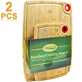 Bamboo Cutting Board, Elegant Life 2-Piece Cutting Boards for Kitchen Organic Wood Butcher Block and...