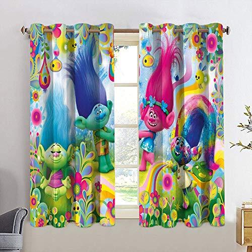 Cortinas decorativas Trolls para ventana de habitación de los niños, con ojales de eficiencia energética, 42 x 45 cm
