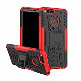 FaLiAng Huawei Honor 7X(5,9') Case, Dual Layer Armor Combo Shockproof Heavy Duty Shield Hard Case Cover for Huawei Honor 7X(5,9') (Red)