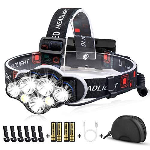 Mirviory Stirnlampe, Superhelle Kopflampe 17000 Lumen 7 LED 8 Modi mit Rotem Warnlicht, USB Stirnlampe Wiederaufladbar Wasserdicht Einstellbar für Outdoor, Camping, Fischen, Wandern