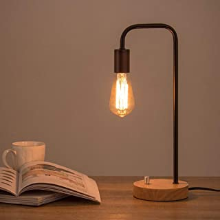 HAITRAL Industrial Table Lamp,Vintage Edison Bulb Lamp With Wooden Base, Bedside lamp for Nightstand,Bedroom,Living Room,Office-Black (Without Bulb)