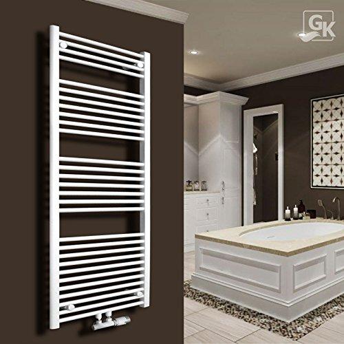 Gulfstream-Komfort Badheizkörper Handtuchwärmer Heizkörper Bad Chrom Gold Anthrazit Weiß Schwarz (1800 x 600 mm, Weiß gerade)