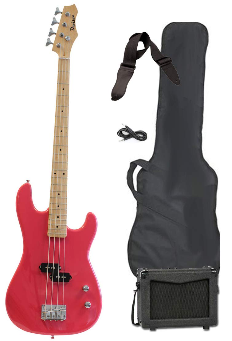 Cheap Pink Full Size Electric Bass Guitar with Amp Case & Strap Beginner Starter Package Black Friday & Cyber Monday 2019