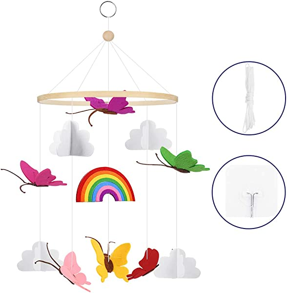 Accmor Baby Crib Mobile 3D Handmade Felt Butterflies In The Clouds Baby Mobile Nursery Decoration For Boys Girls Baby Shower Unique Colorful Nursery D Cor