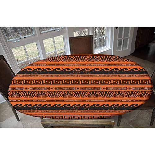 Mantel de poliéster elástico ajustable, adornos clásicos en estilo griego antiguo Grunge envejecido, decorativo, rectangular, ovalado, para mesas de hasta 122 cm de ancho x 172 cm de largo.