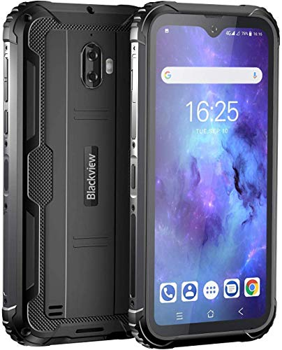 Movil Resistente, Blackview BV5900 Telefono Movil Antigolpes, 5.7 Pulgadas HD+ Display, 4G Android 9.0, Batería 5580mAh, 3GB RAM+32GB ROM, IP68 Impermeable Smartphone, Cámara 13MP+5MP, GPS/NFC-Negro