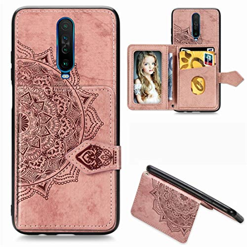 JIAHENG Phone Case For Xiaomi Redmi K30 Mandala Embossed Magnetic Cloth PU + TPU + PC Case with Holder & Card Slots & Wallet & Photo Frame & Strap PU Leather Cover Shell (Color : Rose Gold)