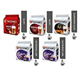 Tassimo Coffee&Choco Bundle - Costa Gingerbread Latte/Caramel Latte, Cadbury Hot Choco, L'Or Latte Macchiato Caramel pods -Pack of 5 (40 Servings)