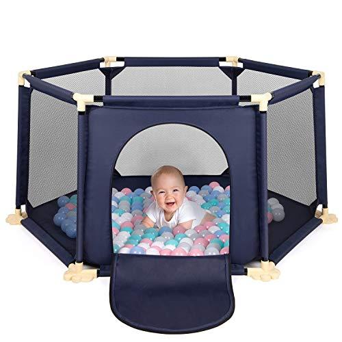 Birtech Baby Laufgitter faltbarer 6-Panel-Laufstall großer Aktivitäts-Laufstall mit atmungsaktivem Netz für Kleinkinder Spielen im Innen- und Außenbereich Waschbar Blau