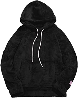 ZAFUL Mens Solid Winter Fluffy Hoodie Oversized Hooded Pullover Sweatshirt Outwear with Kangaroo Pocket