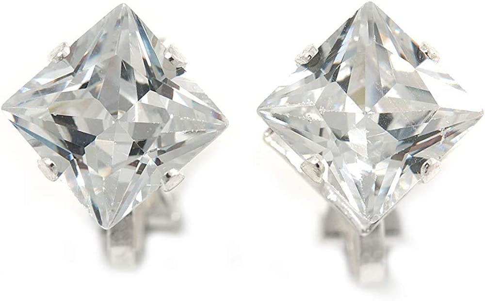 8mm Clear Cz Square Clip On Earrings In Rhodium Plating
