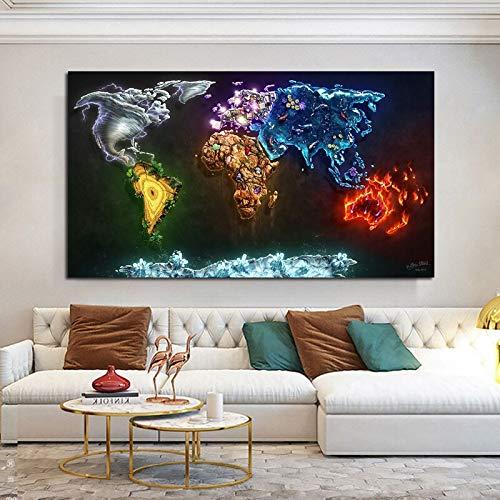 Yegnalo Mapa del Mundo Imagen Arte Abstracto Lienzo Pintura Sala de Estar Arte Pared decoración del hogar mar Peces Nube Cartel