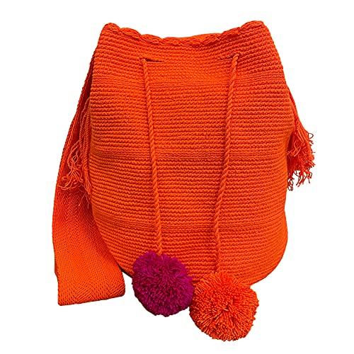 Bolso de hombro de lona de gran tamaño hecho a mano Wayuu moderno para mujer, bolso bandolera Hobo, bolso informal, color 45#
