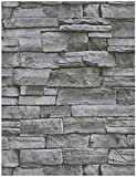HeloHo 17.71' X 118' Grey Stone Wallpaper Peel and Stick Wallpaper Stone Self Adhesive Wallpaper Removable Waterproof Wall Paper Textured 3D Brick Wallpaper Easy to Install