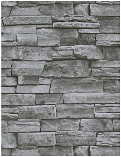 """HeloHo 393.7""""X17.71"""" Grey Stone Wallpaper Peel and Stick Wallpaper Self Adhesive Removable Wallpaper Waterproof Wall Paper 3D Textured Brick Wallpaper Easy to Install"""
