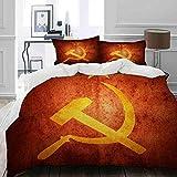 HUAYEXI Set Copripiumino,Armi invecchiate Rivoluzione della Bandiera Comunista Sovietica Russa Gialla artistiche,Copripiumino 140x200cm 2 Federe (50x80cm)