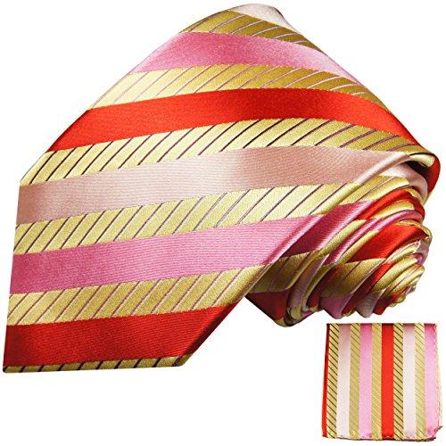 Cravate homme or rouge rose rayée ensemble de cravate 2 Pièces ( longueur 165cm )