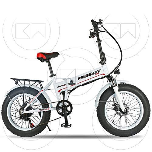 Prismalia - Bicicleta eléctrica Ebike Plegable Fat Bike de 20 Pulgadas, Motor de 250 W con Acelerador