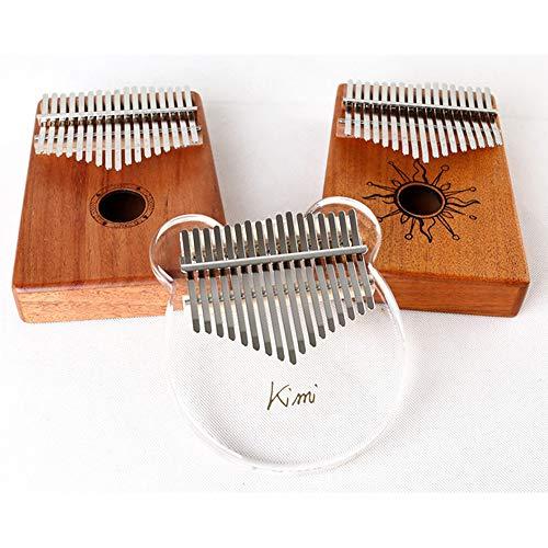 Yize - Piano de pulgar, cristal transparente, 17 teclas de pulgar, con reloj de música portátil, martillo de voz, paño pulido, pegatinas de escala, materiales de clases (cerdios)