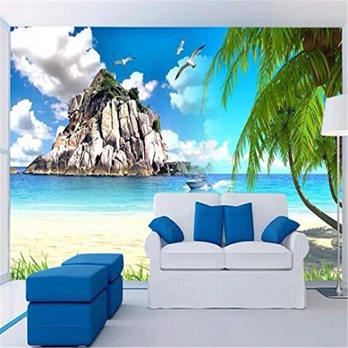 Wallpaper 3D Grote Gebruikergedefinieerde wallpaper muur doek zijde gebruikergedefinieerd fotobehang strand frisheid mediterranen achtergrond decoratie 3D gedrukt stof tropische decoratie, 250 cm * 175 cm