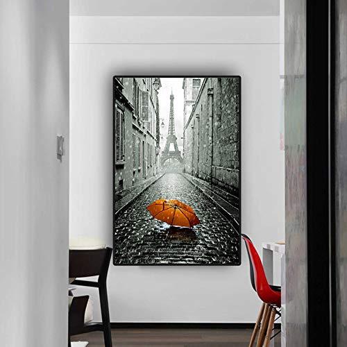 Roter Regenschirm Schwarzweiss-Straßenplakat und Druck-Leinwand-Malerei-Wandkunst-Bild für Wohnzimmer A 40x60cm