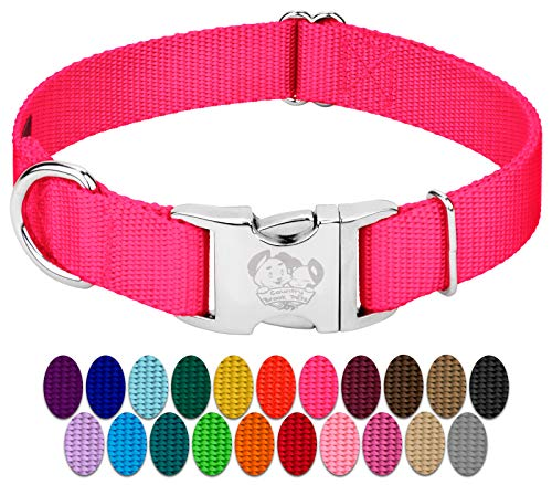 Country Brook Design - Vibrant 26 Color Selection - Premium Nylon Dog Collar with Metal Buckle (Large, 1 Inch Wide, Hot Pink)
