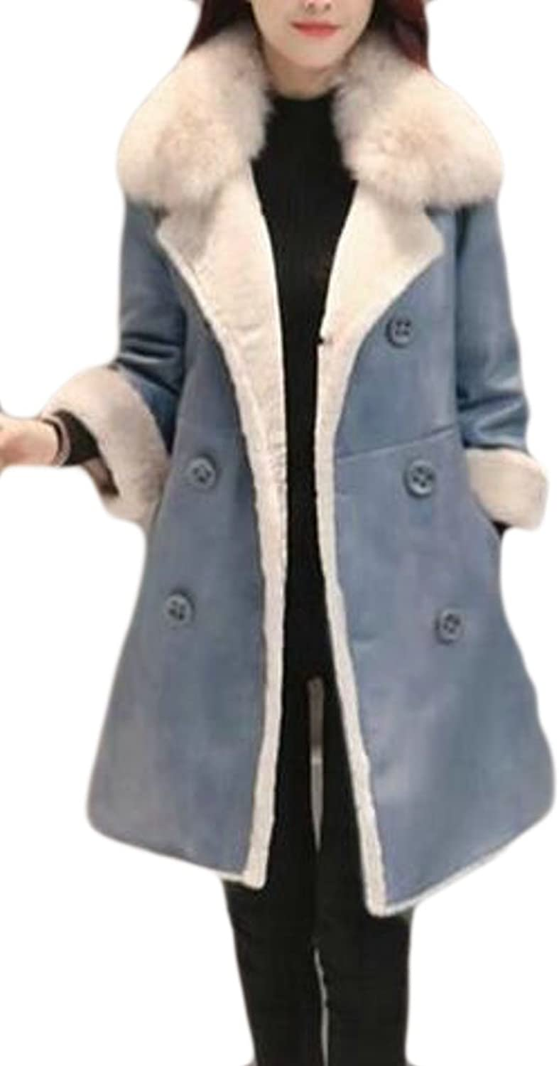 HTOOHTOOH Womens Thick Suede Faux Fur Lined Double Breasted Outdoor Moto Biker Coat Jacket