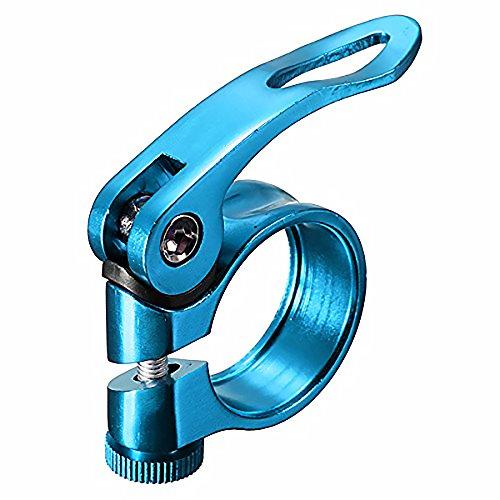 Ndier Abrazadera de liberación rápida, abrazadera para sillín de bicicleta, de aleación de aluminio, 31,8 mm, azul