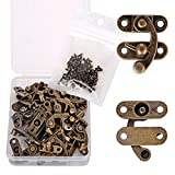 PGMJ 20 Pieces Thickened Solid Bronze Tone Antique Right Latch Hook Hasp Horn Lock Wood Je...