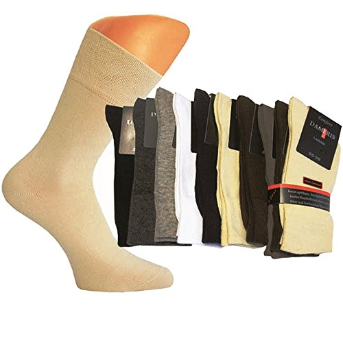 Art-of-Baan 6 Paar Damen Komfort Socken mit extra weichen und breitem B& ohne Gummi aus hochwertiger Baumwolle, Weiß, Größe 39/42