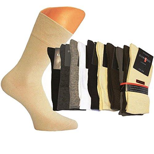 10 Paar Damen Komfort Socken ohne Gummi weiß, Größe 35-38