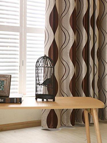 adaada 2er-Set Geometrische Moderne Vorhänge für Wohnzimmer(245 * 140cm,Braun)