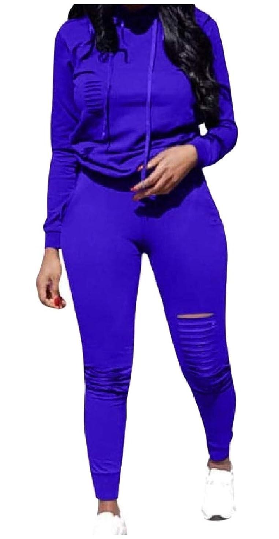 延期するペレット生むVITryst レディースフード付きロングアウトロングスリーブ2ピースラウンジセットスーツ