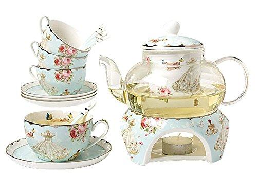 feines Porzellan Kaffeetasse 3d-Pfauen-Design Lucky YBK Tech Teetasse und Untertasse blau