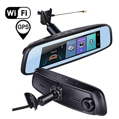 Dash-Cam Autocamera, Full HD 1080p, 7,48 inch LCD-scherm, dubbele lens achteruitrijcamera, met wifi en GPS, ADAS stembediening, Bluetooth app-bediening, parkeermonitor