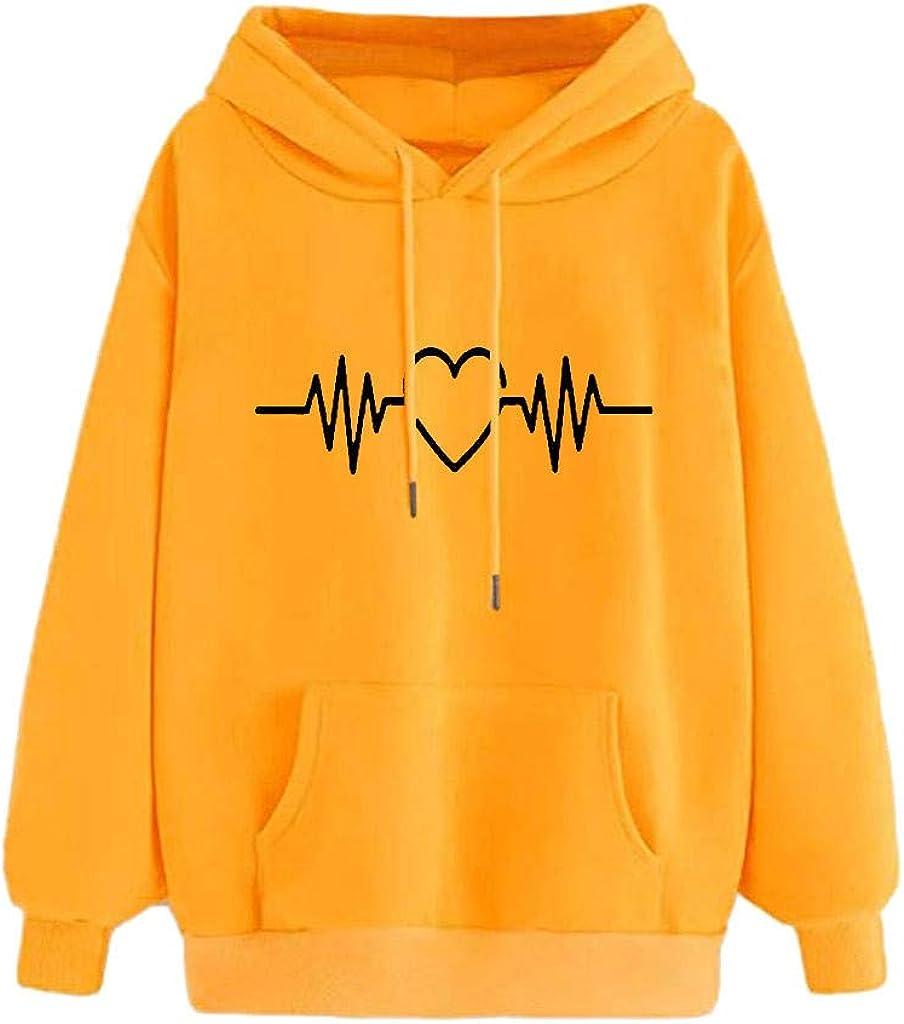 Casual Pullover Tops for Women Sleeve Popular popular 5 ☆ popular Long Print Ho Heart
