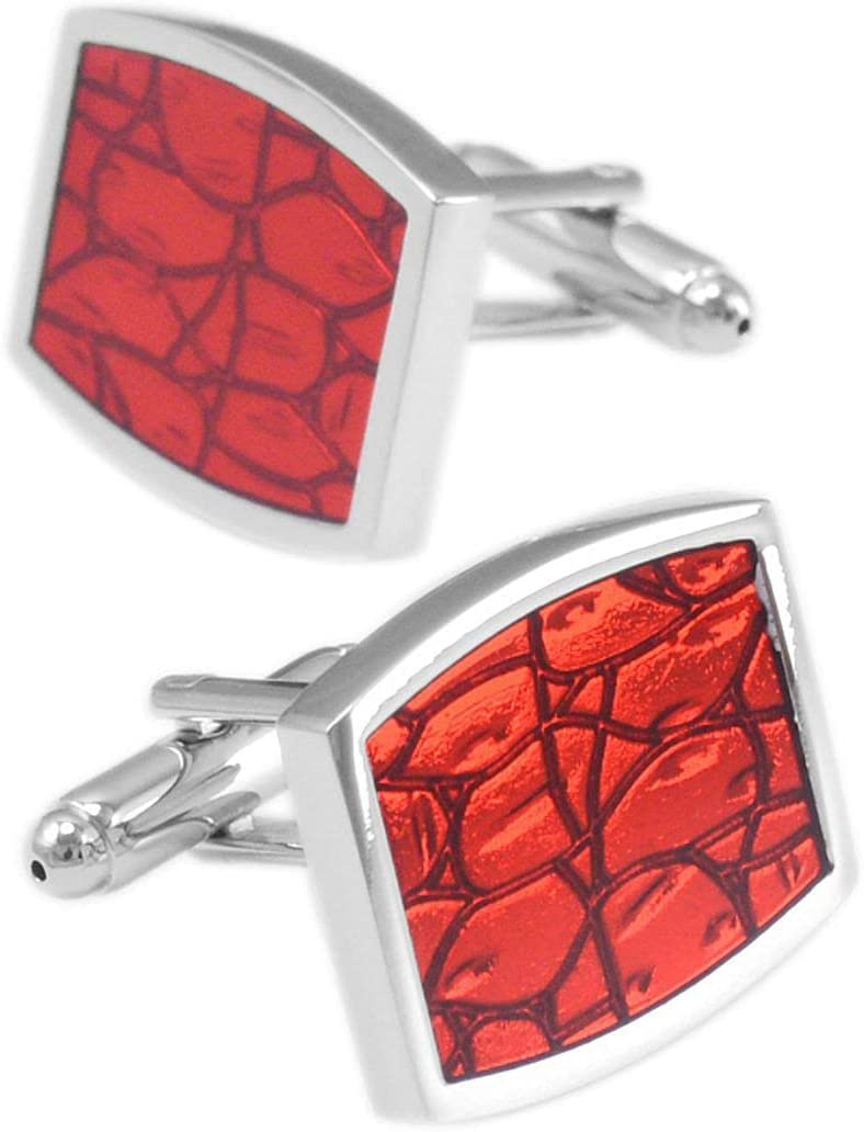 BO LAI DE Men's Cufflinks Red Curved Oil Dripping Imitation Leather Cuff Links Shirt Cufflinks Suitable for Weddings, Business Events, Meetings, Dances, Tuxedos, Formal Shirts, with Gift Boxes