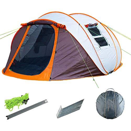Pkfinrd Pop-Up-Zelte mit Vorraum für Doppelschichten, wasserdicht, einfache Einrichtung, großes Camping-Zelt, belüftete Mesh-Fenster, schnell aufzubauen, Zelte, orange