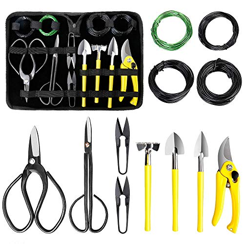 MOSFiATA Bonsai Tools Set 13 Pcs High Carbon Steel Succulent Gardening TrimmingTools Set Include Pruning Shears, Scissors, Mini Rake, Round and Pointed Shovel &Training Wire in PU Leather Bag