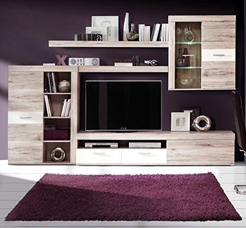 Homely - Mueble de salón Modular Moderno Trama Color Roble y Blanco Mate de 300 cm