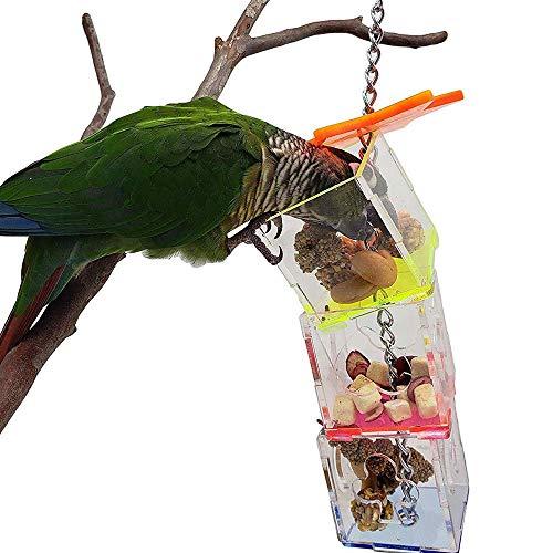 鳥用給餌器 ペットおもちゃ インコ 鳥 オウム おもちゃ 餌入れ おやつ玩具 人気 おもちゃ 早食い対策 食器 小動物用フード 透明 アクリル 三重 知育玩具 吊り下げ式 ペット用品 セキセイインコ ストレス解消