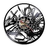 Vinyl reloj de pared Pan Trigo Arte de la pared Reloj de pared Panadería Cartel Decoración de la pared Pastelería Disco de vinilo Reloj de pared Cocina Reloj decorativo Diseño moderno 30 CM LO1171