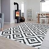 Tapiso Collection Luxury Tapis de Salon Chambre Moderne Couleur Blanc Gris Motif Géométrique Facile d'entretien Haute Qualité 120 x 170 cm