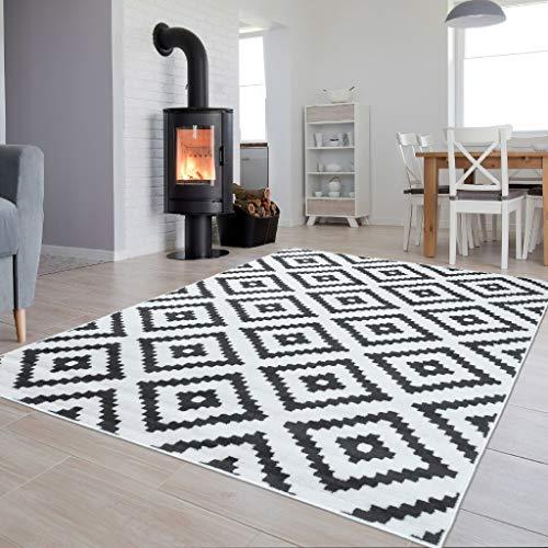 TAPISO Collection Luxury Tapis de Salon Chambre Moderne Couleur Blanc Gris Motif Géométrique Facile d