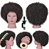 Mannequin Head with 100% Human Hair Manikin Dolls Head for Hair Styling Braiding African American Hair Training Head Afro Kinky Curly Hair Practice Head for Hairdressers Cosmetology School Student
