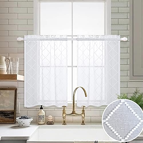 White Kitchen Curtains 36 Inch Length Sets 2 Rod Pocket Geometric Patterned Semi Private Linen Texture Lace Cafe Curtains Tiers Short Modern Embroidered Curtains for Bathroom Small Windows 30x36 Long