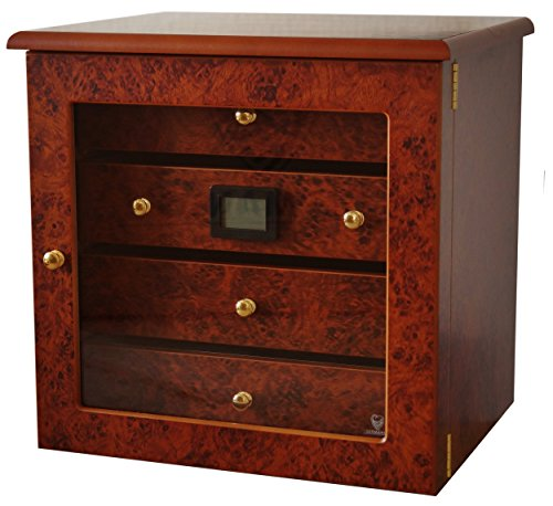 GERMANUS Cigar Humidor Cabinet Radix, Brown, with Digital Hygrometer and Humidifier